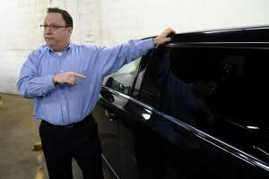 "David Brown, owner of Premiere Transportation, discusses new limo regulations that are being proposed by Gov. Andrew Cuomo in the wake of the Schoharie tragedy that killed 20 people on Wednesday, Jan. 16, 2019, in Albany, N.Y. The plan includes a ban on ""stretched"" or remanufactured limousines in New York, as well as sweeping measures to expand regulation of the limousine industry in response. (Will Waldron/Times Union)"