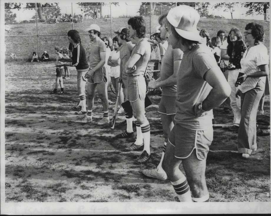 Original caption: Bay City Rollers play softball game at Sand Creek Junior High School in Colonie, New York. July 31, 1979 (Tom LaPoint/Times Union Archive). Do you remember this? If so, we want to hear from you. Send us a note a submit@timesunion.com. 