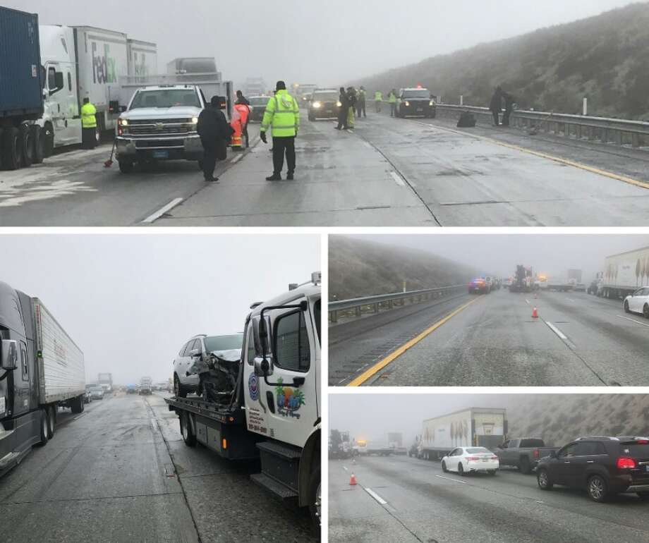 A 19-car pileup caused 35 injuries on Highway 15 in San Bernardino County Wednesday morning. Photo: Caltrans District 8