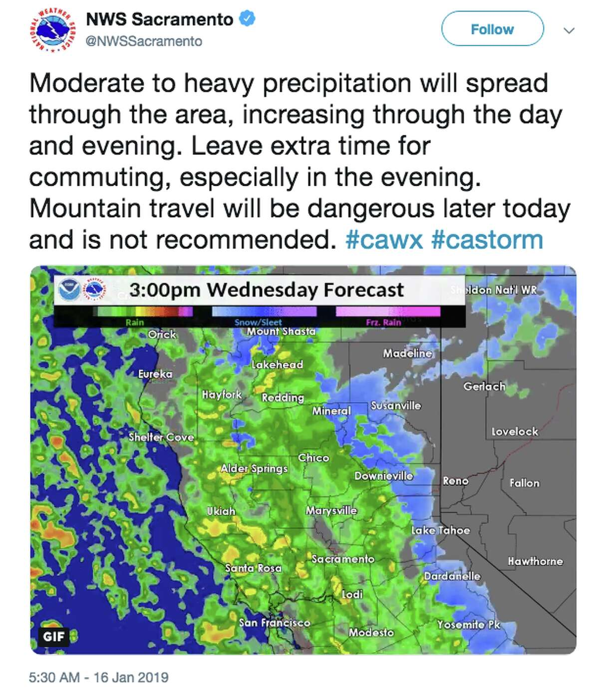 NWS Sacramento tweets about the storm forecast for Jan. 16, 2019.