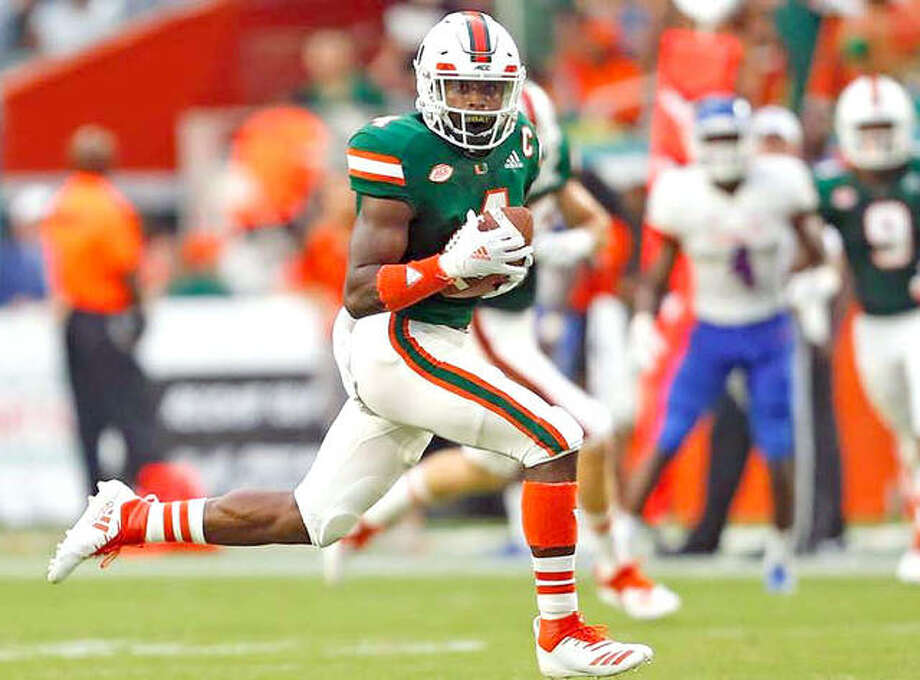 Wide receiver Jeff Thomas from East St. Louis has announced in an Instagram post that he's not transferring to Illinois after all and is instead returning to the Miami Hurricanes. The news came less than a month after Thomas said would transfer to Illinois and less than 24 hours after telling the Champaign News-Gazette that he was in fact transferring to Illinois. Photo: Miami Athletics