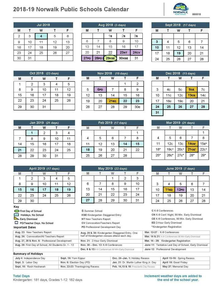 This is the correct version of this school year's calendar. Photo: Contributed
