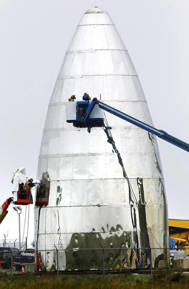 SpaceX's prototype starship near Brownsville, Texas. Photo: Miguel Roberts / Brownsville Herald
