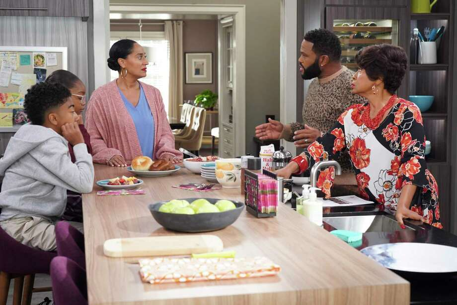 "The Johnson family has a heated discussion about colorism in ""Black Like Us."" From left: Miles Brown, Marsai Martin, Tracee Ellis Ross, Anthony Anderson, Jenifer Lewis. Photo: Ron Tom, ABC / © 2018 American Broadcasting Companies, Inc."