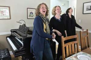 From left: Singers Teresa Broadwell, Jeanne O'Connor and Jeanine Ouderkirk, gathered at O'Connor's home (photo by Amy Biancolli)