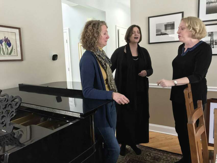 From left: Singers Teresa Broadwell, Jeanine Ouderkirk and Jeanne O'Connor, gathered at O'Connor's home (photo by Amy Biancolli)