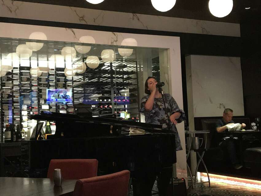 Jeanine Ouderkirk performing at Dukes Chophouse at the Rivers Casino (photo by Amy Biancolli)