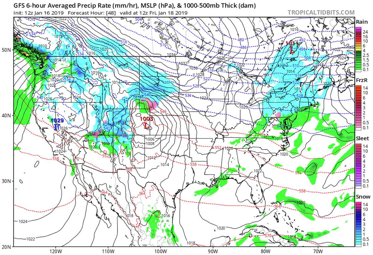 4 a.m. Friday, Jan. 18, 2019: Storm is a moisture mass and begins to move over Rocky Mountains (Forecast hour 48; valid at 12z Friday, Jan. 18, 2019)