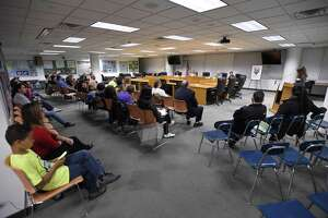 Parents, students and city officials attend the Angela Lorenti Memorial 2018 Board of Education Candidates Forum at the Stamford Government Center on Wednesday, Oct. 24, 2018 in Stamford, Connecticut. The room is located on the fifth floor of Government Center where the mold task force investigated complaints of mold following teacher complaints.