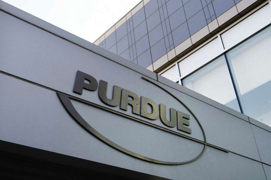 Purdue Pharma-branded signs, such as this one, have been taken down in recent weeks outside Purdue's headquarters at 201 Tresser Blvd., in downtown Stamford, Conn. Photo: Douglas Healey / Associated Press / AP2007
