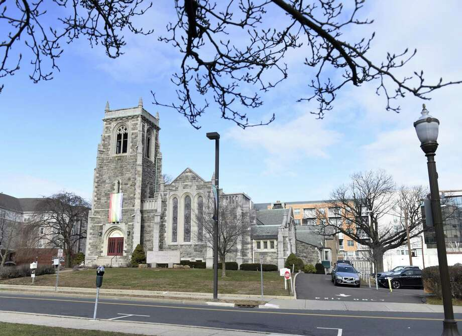 First Congregational Church in Stamford was recently sold to a developer who is planning on keeping the main church intact and constructing a new residential building around it. Photo: Tyler Sizemore / Hearst Connecticut Media / Greenwich Time