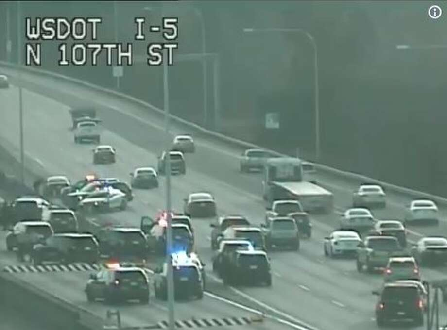 A police pursuit that happened after a reported robbery with alleged shots fired ended after the suspect crashed on southbound Interstate 5 at Northgate. Photo: Courtesy WSDOT