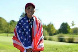 Lucy Li of Team USA is seen during the singles on day two of the 2018 Junior Ryder Cup at Disneyland Paris.