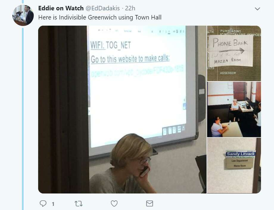A screenshot of the images posted on Sunday by town resident Ed Dadakis that have left local Democrats, including Joanna Swomley, who is pictured in the images, wondering how a private meeting could be recorded. Photo: Screenshot