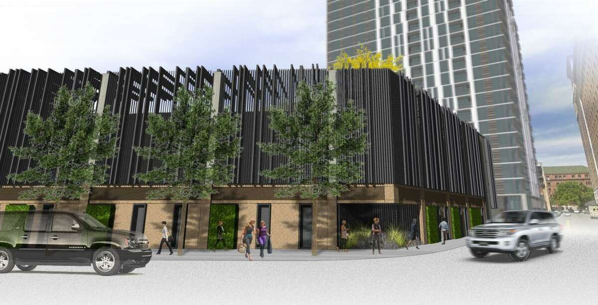 Pictured, a rendering of a parking garage planned for 126 Villita St. that will accompany the adjacent tower project.