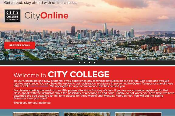 A screenshot of the City College of San Francisco webpage. More than 400 students trying to register for classes this month have phoned the school in frustration: The online system was offline. Officials asserted Tuesday that they didn't know what was causing ongoing glitches that may affect tens of thousands of students trying to sign up for classes.