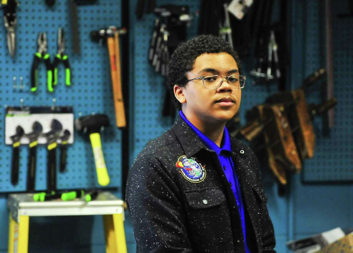Gavin Syas, an eight-grader at Marshall Middle School, poses for a photo on Wednesday after giving a presentation to his fellow students about the importance of STEM in schools. Syas is one of 25 ambassadors for the Back to Space program which aims to make STEM a focus in pop culture. Photo taken Wednesday 01/16/19.