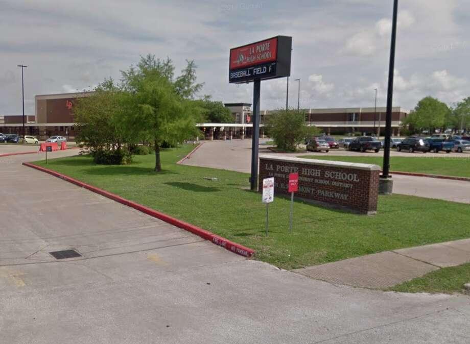 La Porte High School sign in La Porte, Texas. Photo: Google Maps