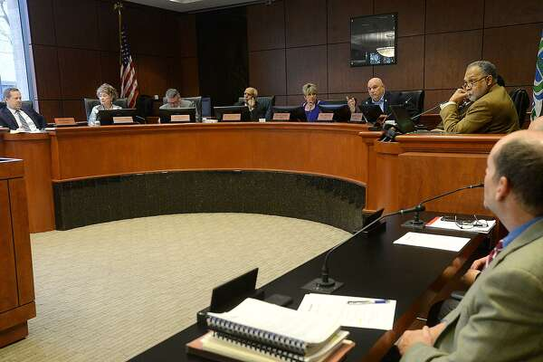 Beaumont City Council discusses before voting on the city's proposal to potentially ourchase the vacant AT&T Building on Main Street. The city's plan includes demolition of the structure with the hope of making it available for redevelopment. Photo taken Tuesday, January 15, 2019 Photo by Kim Brent/The Enterprise