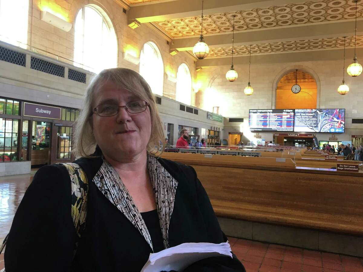 Susan Feaster, a member of the newly-formed Shore Line East Riders Advocacy Group, in New Haven's Union Station. Connecticut Department of Transportation officials, including Commissioner James Redeker, met with Shore Line East riders on Thursday, Sept. 20, 2018 to talk about recent problems with the service.