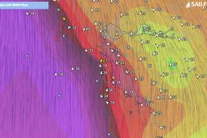 A flow map forecast shows the intensity of the winds around the Bay Area on Jan. 16, 2019.