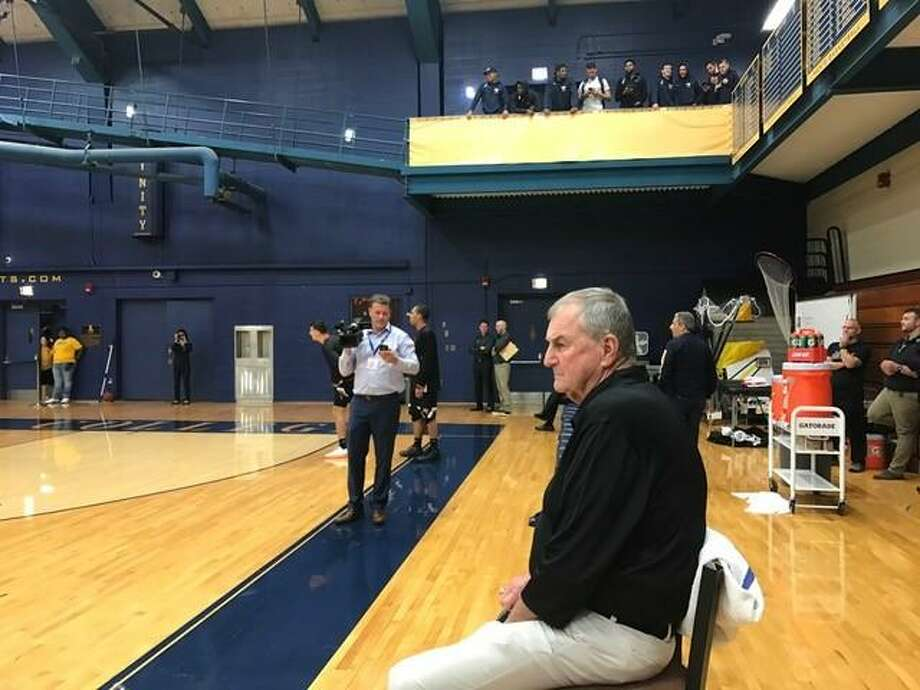 Jim Calhoun before his first game as head coach at Division III University of Saint Joseph. Photo: David Borges / New Haven Register