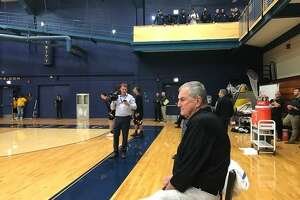 Jim Calhoun before his first game as head coach at Division III University of Saint Joseph.