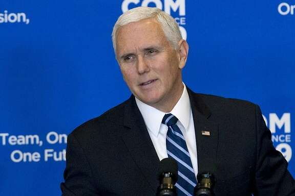 """Vice President Mike Pence speaks during the Global Chiefs of Mission Conference """"One Team, One Mission, One Future"""" at Department of State on Wednesday, Jan. 16, 2019, in Washington. Pence is claiming that the Islamic State """"caliphate has crumbled"""" and the militant network """"has been defeated."""" But his comments Wednesday in a speech at the State Department came shortly after the U.S. military said American service members were among those killed during an explosion during a routine patrol in Syria.  (AP Photo/Jose Luis Magana)"""