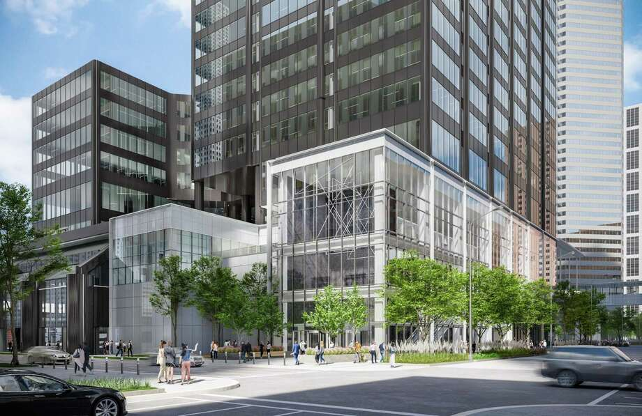 Developed during the 1970s, Houston Center is downtown's largest office complex. As artist's rendering shows where Brookfield is adding a new glass-walled entrance; there will also be a central plaza and a monumental stair feature. Photo: Courtesy Of Brookfield