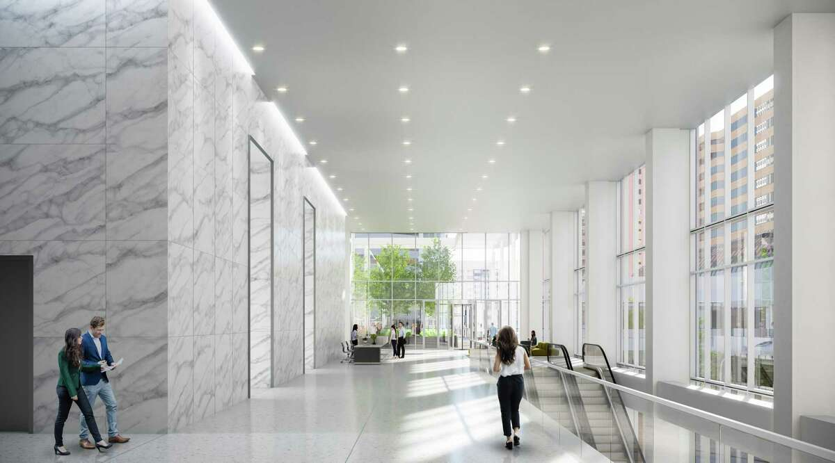 A rendering of the lobby renovations at 2 Houston Center.