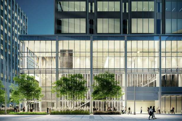 A rendering shows renovations to the lobby at 2 Houston Center