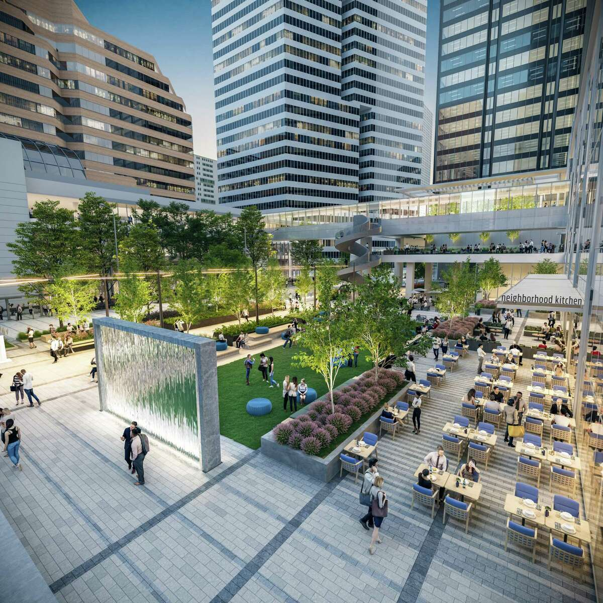 A rendering shows a new central plaza at Houston Center.