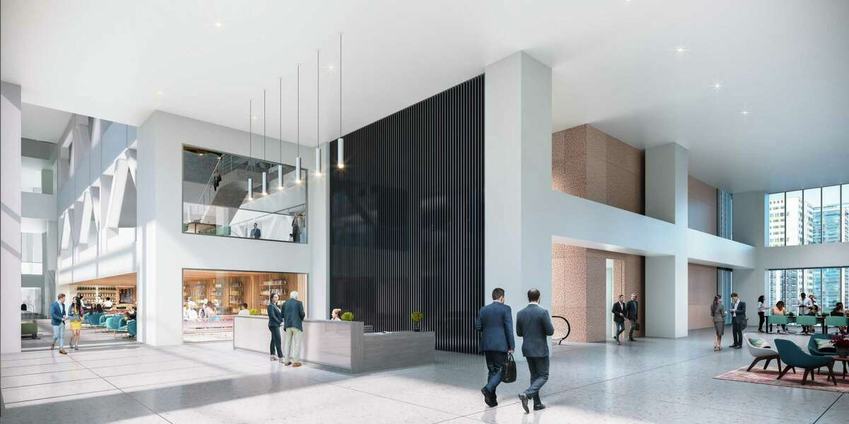 A rendering of the renovated lobby at LyondellBasell Tower.