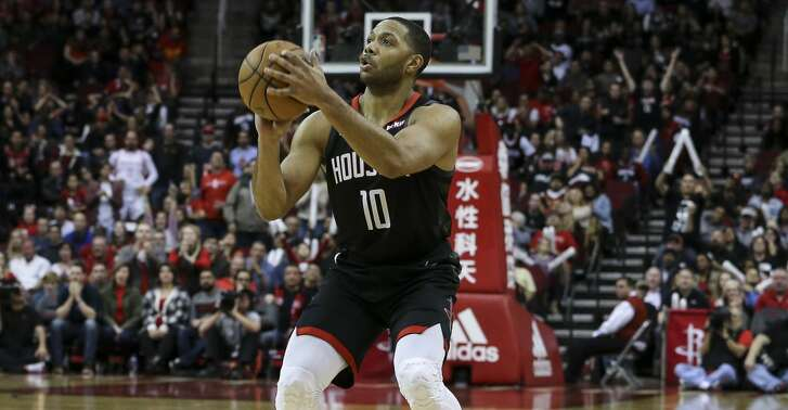 Houston Rockets guard Eric Gordon (10) aims for a three-pointer during the fourth quarter of the NBA game against the San Antonio Spurs at Toyota Center on Saturday, Dec. 22, 2018, in Houston. The Houston Rockets defeated the San Antonio Spurs 108-101.