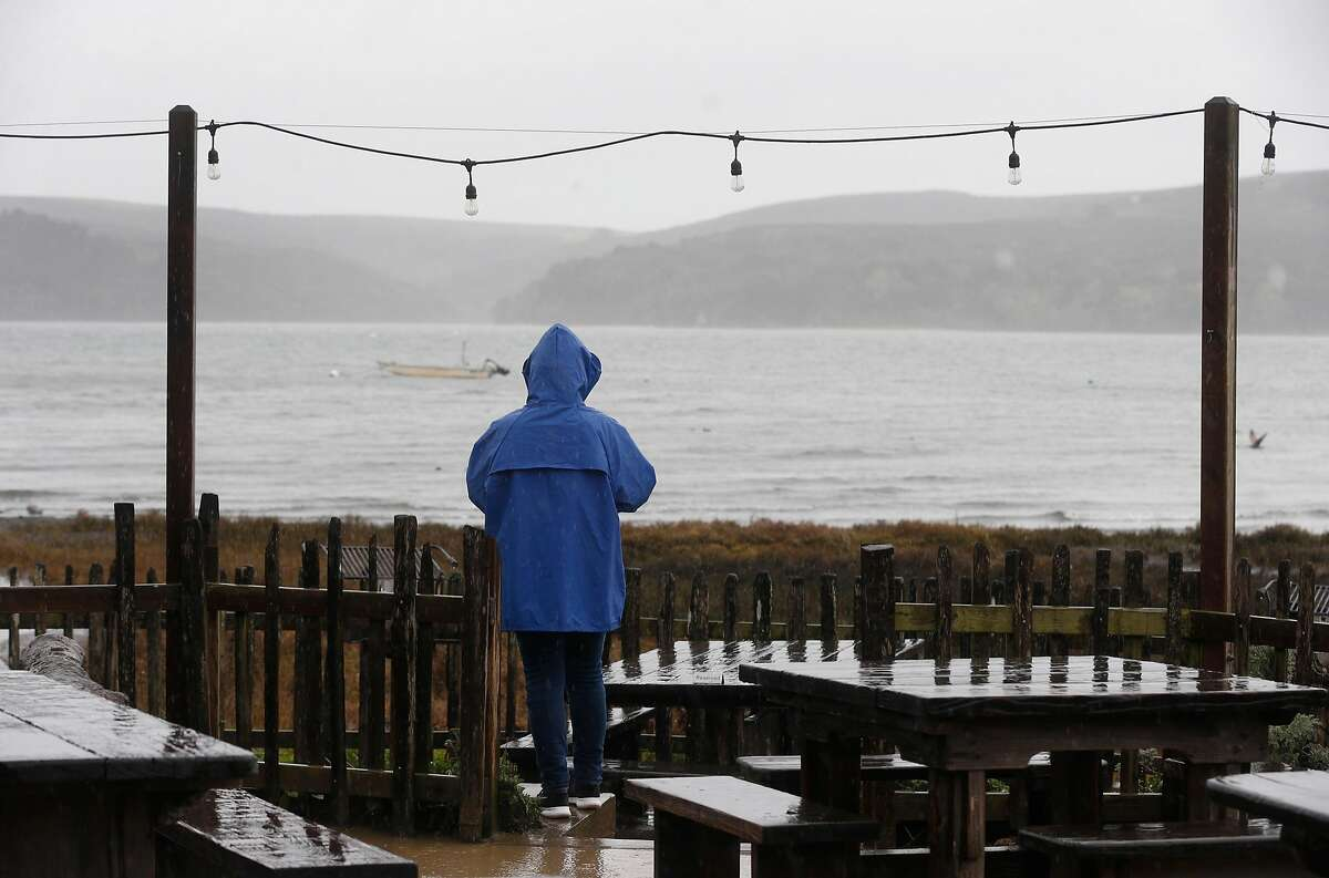 Jan Moore, visiting from Chicago, views Tomales Bay in the rain from Hog Island Oyster Farm in Marshall, Calif. on Wednesday, Jan. 16, 2019. Harvesting on Tomales Bay has been temporarily suspended following reports of a few customers becoming infected with norovirus after consuming the oysters.