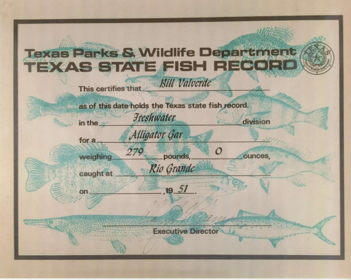 The Texas State Fish Record certificate issued to Bill Valverde in 1974, 23 years after the Mission resident set the still-standing Texas and World record for the largest alligator gar documented taken on rod-and-reel.