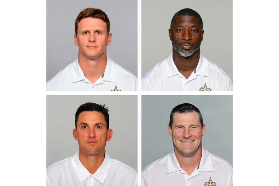 Michael Hodges (top left), Aaron Glenn (top right), Dennis Allen (bottom left) and Dan Campbell (bottom right) are all former Aggies who are now coaches on the New Orleans Saints' staff.