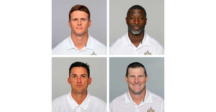 Michael Hodges (top left), Aaron Glenn (top right), Dennis Allen (bottom left) and Dan Campbell (bottom right) are all Texas A&M products who are now coaches on the New Orleans Saints' staff.