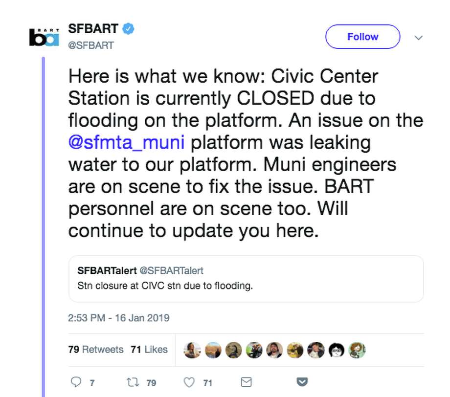 A tweet from BART over a station closure turned into a fun diversion on Twitter, as users watched the back-and-forth over a fictional fight between local transportation systems. Photo: Twitter Screenshots