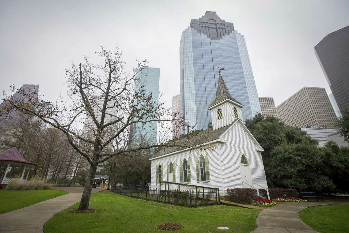 The 1891-built St. John Church was moved to its current home in Sam Houston Park in downtown Houston in 1968 where it is maintained by the Heritage Society.