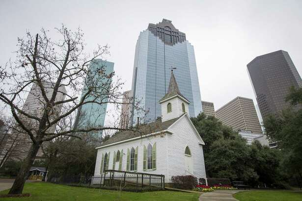 The 1891-built St. John Church was moved to its current home in Sam Houston Park in downtown Houston in 1968 where it is maintained by the Heritage Society, Wednesday, Jan. 16, 2019.