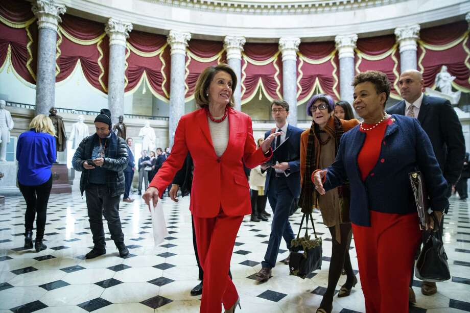 House Speaker Nancy Pelosi, a Democrat from California, center, has asked President Trump to make his upcoming State of the Union speech from the Oval Office due to security concerns. Republicans say it's a bogus claim. Photo: Bloomberg Photo By Al Drago / © 2019 Bloomberg Finance LP
