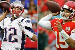 FILE - At left, in a Sept. 23, 2018, file photo, New England Patriots quarterback Tom Brady throws during the first half of an NFL football game against the Detroit Lions, in Detroit. At right, in an Oct. 7, 2018, file photo, Kansas City Chiefs quarterback Patrick Mahomes (15) throws a pass during the first half of an NFL football game against the Jacksonville Jaguars, in Kansas City, Mo. One is the sixth-round pick that became arguably the greatest quarterback in NFL history. The other is the first-round choice in his first full season as starter. Yet there are similarities between the Patriots? Tom Brady and the Chiefs? Patrick Mahomes, and some day their resumes may be similar, too. (AP Photo/File)