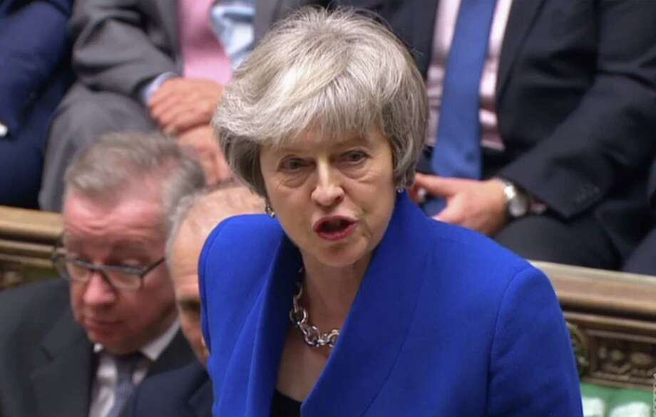 "A video grab from footage broadcast by the UK Parliament's Parliamentary Recording Unit (PRU) shows Britain's Prime Minister Theresa May speaking after the result of the vote on the no confidence motion, in the House of Commons in central London on January 16, 2019. - British Prime Minister Theresa May on Wednesday survived a no-confidence vote sparked by the crushing defeat of her Brexit deal just weeks before the UK leaves the European Union. (Photo by HO / PRU / AFP) / RESTRICTED TO EDITORIAL USE - MANDATORY CREDIT "" AFP PHOTO / PRU "" - NO USE FOR ENTERTAINMENT, SATIRICAL, MARKETING OR ADVERTISING CAMPAIGNSHO/AFP/Getty Images Photo: HO / PRU"