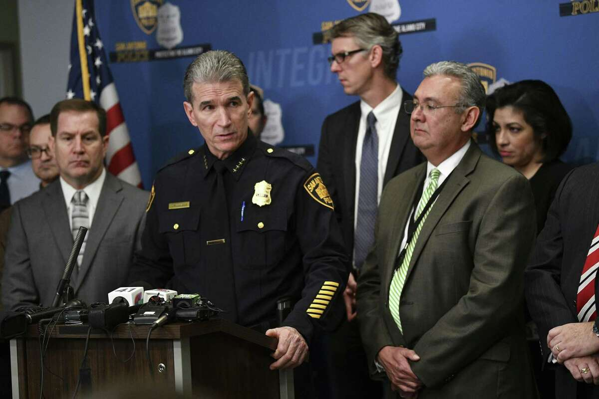 San Antonio Police Chief William McManus announces that the body of 8-month-old King Jay Davila has been found in a backpack in an open field. Several family members have been arrested. District Attorney Joe Gonzales stands at right.