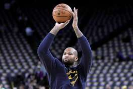 DeMarcus Cousins warms up before the Golden State Warriors played the New Orleans Pelicans at Oracle Arena in Oakland, Calif., on Wednesday, January 16, 2019.
