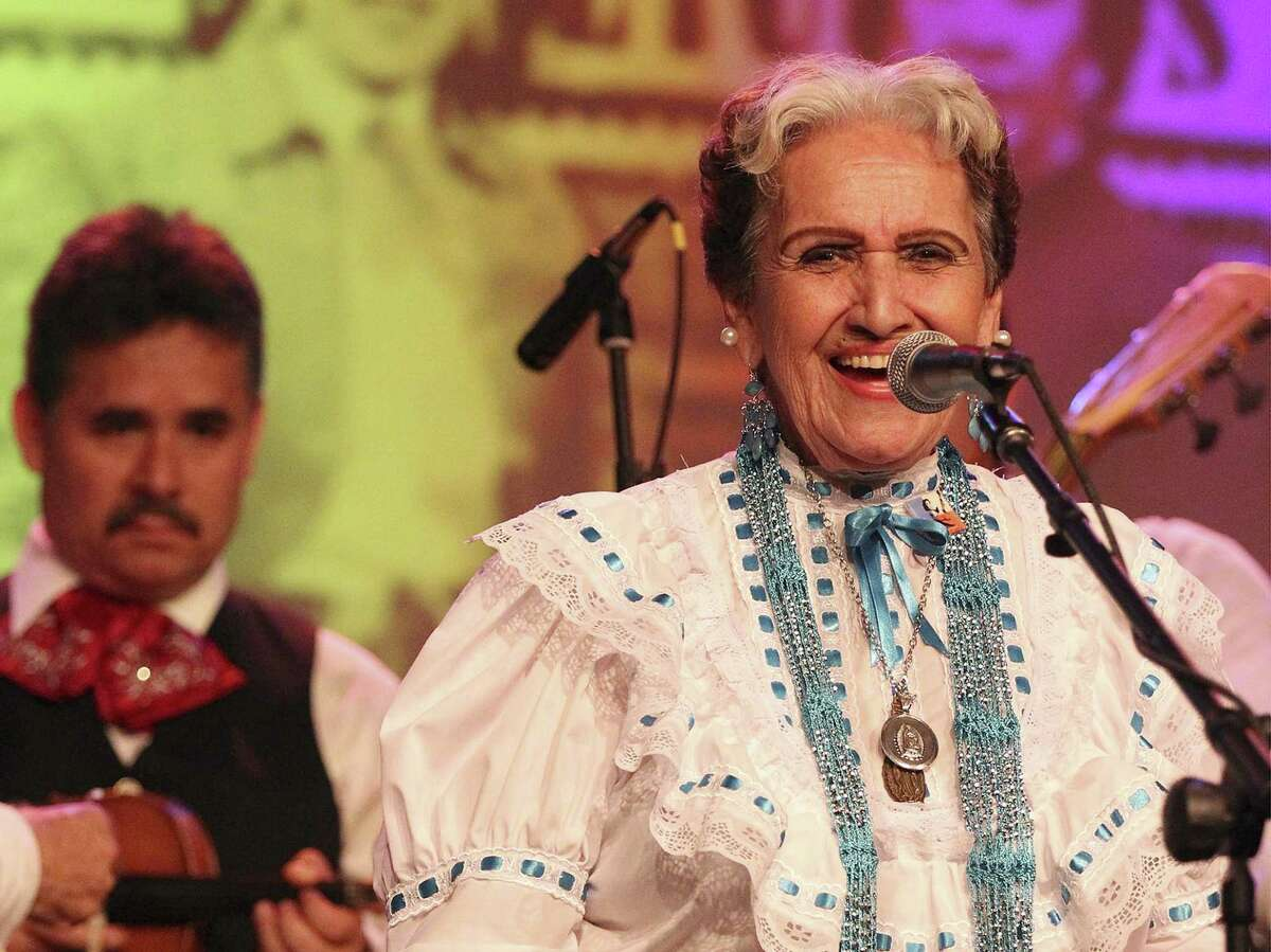 Legendary Latina singer and musician Rita Vidaurri performs at a special gathering for her 90th birthday at the Guadalupe Theater on Friday, May 23, 2014. Vidaurri was also joined by other performers including members of the quartet Las Tesoros de San Antonio of which Vidaurri sang as part of the group. Patrons, fans and family of Vidaurri packed the theater to celebrate the Tejano music matriarch's special day filled with music and laughter. (Kin Man Hui/San Antonio Express-News)