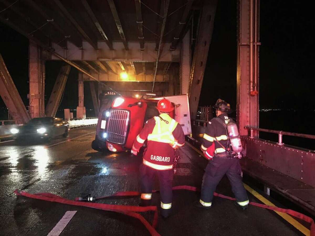 High winds from an unrelenting storm toppled a big rig on the Richmond-San Rafael Bridge on Wednesday.