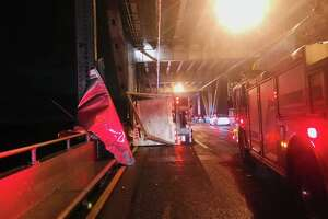 High winds from an unrelenting storm toppled a big rig on the Richmond-San Rafael Bridge.