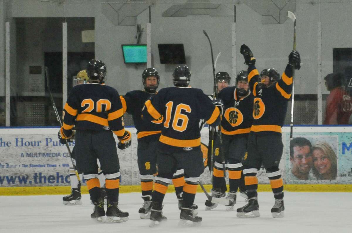 Members of the Simsbury Trojans celebrate a first period goal during a game against the Notre Dame Fairfield Lancers on Wednesday January 16, 2019 at The Rinks in Shelton, Connecticut.